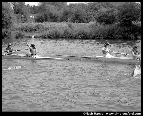 One of the rowing crews gets bumped