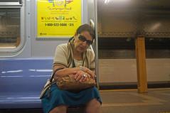 Subway Portrait (UrbanphotoZ) Tags: nyc newyorkcity blue woman ny newyork sunglasses subway platform skirt rings shawl summerfood