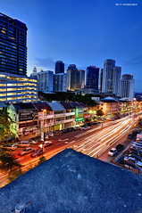at the edge (Art-slice) Tags: city blue colors night photography lights hour malaysia kualalumpur trafficjam klcc hisham hdri skyview lighttrail artisticslice artisticslicewordpresscom