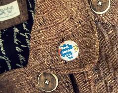 Serpent Dragon (Deep Indigo) Tags: blue crossstitch pin dragon handmade linen embroidery fabric button serpent tatoostyle fabriccovered tietack
