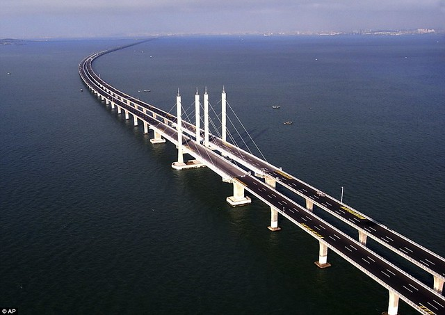 That is a £1bn bridge too far World's longest sea bridge opens to traffic in China... but it will only hold the title for five years  11