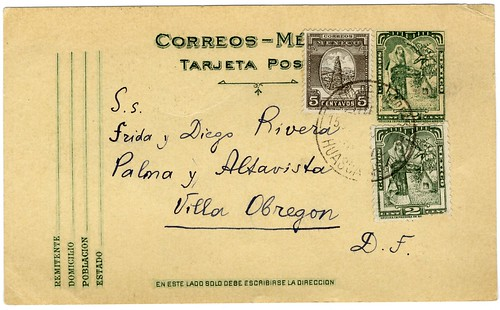 Postcard from Leon Trotsky to Frida Kahlo, Diego Rivera, 1937 (recto)