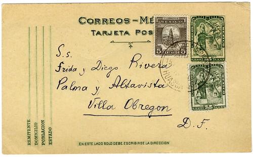 Postcard from Leon Trotsky to Frida Kahlo, Diego Rivera, 1937 (recto)
