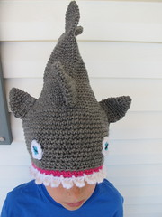 S modeling the shark hat #3