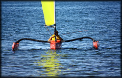 Sail-fishing (Loops666) Tags: ocean man reflection water sailboat person boat fishing father sail pontoons windrider trimaran