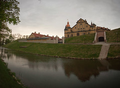 The Castle Of Nesvizh (lemmingby) Tags: panorama postprocessed reflection building castle water evening travels dusk panoramic historic trips belarus moat stitched unescoworldheritage nesvizh otherwheres