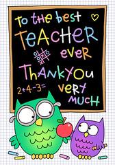 97 TEACHER (HELEN PICKUP) Tags: best teacher card greeting owls