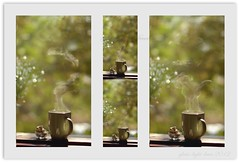 Steam-a-doodle-doo (*iris-hues*) Tags: green canon afternoon bokeh backdrop cashewnuts risingsteam eos7d glasslighthues glhartdecor glhad steamadoodledoo asteamingcupoftea greenmugoftea