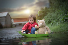 I knew when I first saw you, an adventure was going to happen (Windermere Images) Tags: believe imagine love play floating boat fun umbrella autumn trees farm rain puddles boy adventure pooh