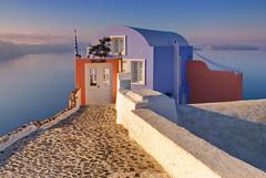 Bliss. (Andy Bracey -) Tags: bracey andybracey notabadplacetolive views landscape seascape oia santorini greece house blue themed water sea cobbles door bliss nikon coast coastal aegean sunrise