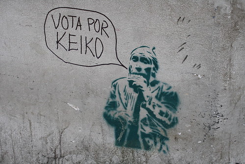 Graffiti modified by a Keiko supporter