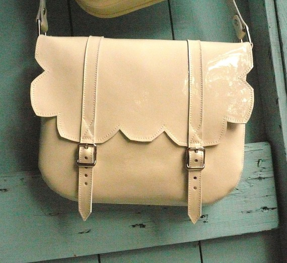 Cream Patent Leather Scallop Satchel frenchenglish etsy
