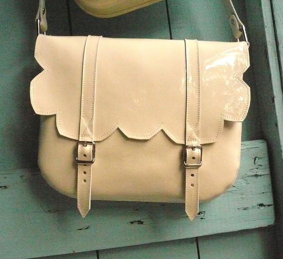 Cream Patent Leather Scallop Satchel frenchenglish etsy