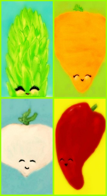 portrait food cute face vegetables pepper happy factory farm painted kitsch vegetable meat asparagus vegetarian kawaii carrot veggies turnip anthropomorphic
