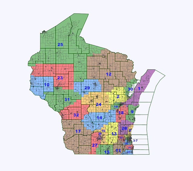 WI State SenateAssembly Districts - Boundary map for wisconsin 2nd district us house of representatives