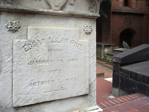 Edgar Allan Poe's final grave at Westminster Hall