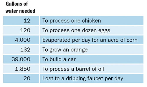 Table 2: Water Consumed to Provide Selected Products