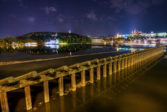 Night in Prague (Miroslav Petrasko (blog.hdrshooter.net)) Tags: city bridge reflection church water night canon lights republic czech prague tripod sigma praha praga center most 1020mm pillars vltava hdr karlov republika karls mesto ceska photomatix odraz 450d theodevil hdrshooter