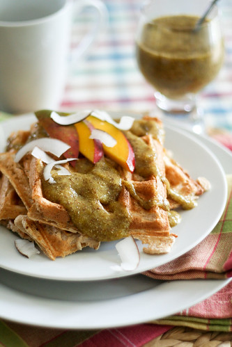 Waffles with Tropical Fruit Sauce and Coconut Shavings