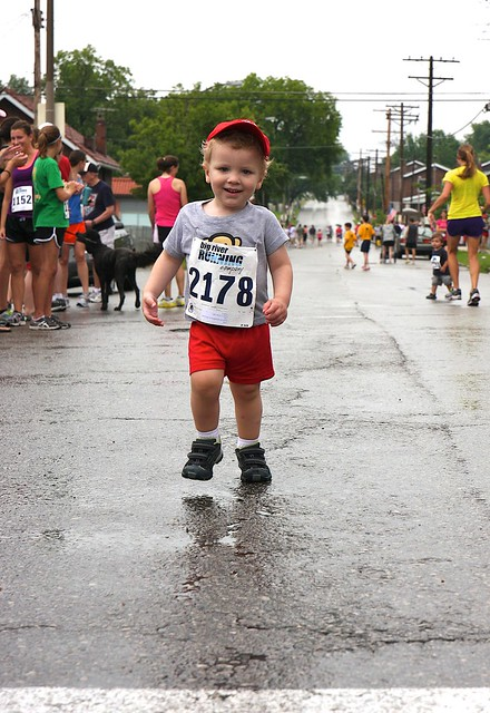 Will approaching finish line of Kid's 1/4 mile dash