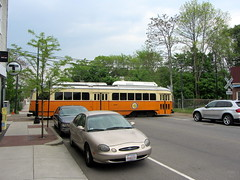 PCC crossing Central Ave (Sean_Marshall) Tags: boston t trolley massachusetts mbta milton streetcar pcc mattapan highspeedline