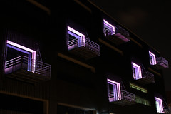 Ouverture (urb_mtl) Tags: city urban black art architecture night docks gallery noir purple lyon balcony violet quay mauve opening balcon nuit quai ville confluence ouverture urbain gallerie rambaud