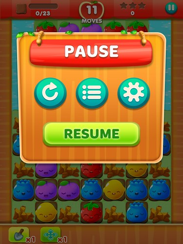 Fruit Splash Mania Pause Menu: screenshots, UI