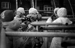 136 (Mitya Ku) Tags: park street school autumn portrait bw white black game smile face childhood sport kids children toy outside fight war peace child russia stadium group shy activity naive vladivostok