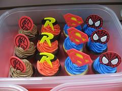 Superhero Cupcakes (Jenny Burgesse) Tags: robin cupcakes spiderman superman superhero hellboy fondant geeksweets comicbookshoppeartgala2010