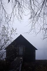 Boat house in the mist (RawsonPhotography) Tags: wood mist tree ben deer hut rawson cropstonresevoir canon40d benspicscom