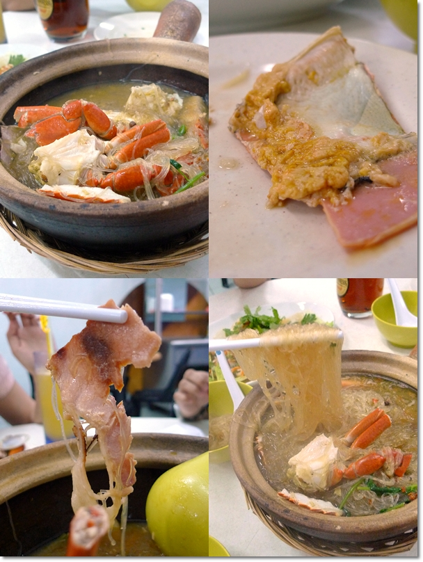 Collage of Claypot Crab Tang Hoon