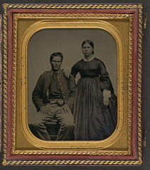 [Unidentified soldier in Union uniform next to unidentified woman] (LOC) (The Library of Congress) Tags: soldier uniform unitedstates military civilwar american libraryofcongress americancivilwar uscivilwar xmlns:dc=httppurlorgdcelements11 dc:identifier=httphdllocgovlocpnpppmsca26905