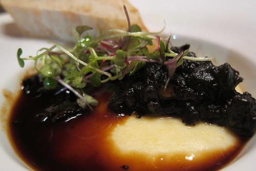 ARASK, Course 2: Polenta, Veal Demi-Glaze, Black Truffle & Huitlacoche Brunois
