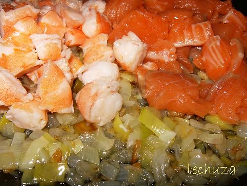 Conchas de salmón-añadir pescado