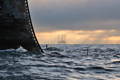 Close up detail of the Bell Rock lighthouse (12 miles off Arbroath) and jack-up rig, Angus, Scotland (iancowe) Tags: morning winter lighthouse rock sunrise coast scotland bell angus scottish stevenson arbroath 1811 northernlighthouseboard nlb robertstevenson bellrocklighthouse wbnawgbsct