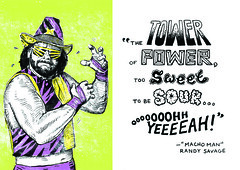 Macho Man Randy Savage (yellowleather) Tags: portrait illustration comic letters emma handlettering greetingcards machoman prowrestling randysavage wordsofwisdom maatman emmamaatman inkdrawing80s