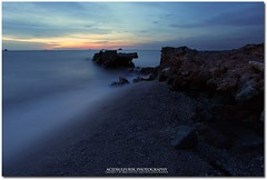 broken bond (acidsulfurik) Tags: sunset beach long exposure bluehour remis pantairemis rockybridge