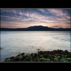 (David Panevin) Tags: longexposure sunset sky bw seascape seaweed beach water clouds landscape evening rocks australia olympus tasmania e3 hobart bellerive sigma1020mmf456exdchsm victoriaesplanade bwnd davidpanevin