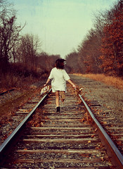 301/365 Runaway Child [Explored] (just_makayla) Tags: girl hair traintracks running justmakayla ilovethispicture333hehe