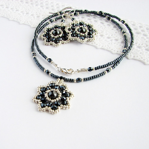 silver and magnetic hematite beaded flower blossom jewelry set
