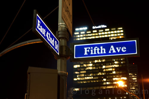 42nd Street and Fifth Avenue sign