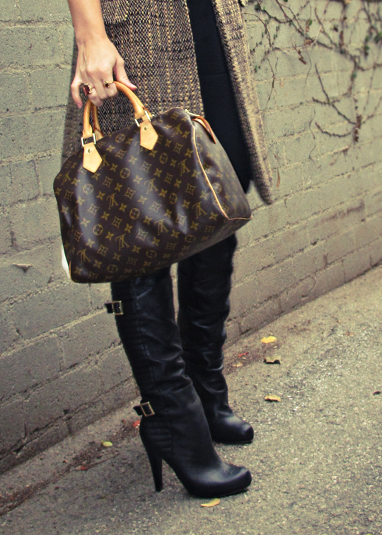 over the knee leather boots with buckles and louis vuitton speedy bag+tones