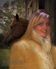 "Never cold always"" HOT"" (Anderson Photography .us) Tags: horse woman leather barn coat blonde"