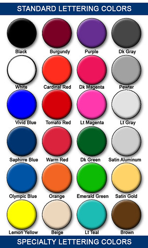 The Sign Studio in Burbank CA - Sign Color Chart
