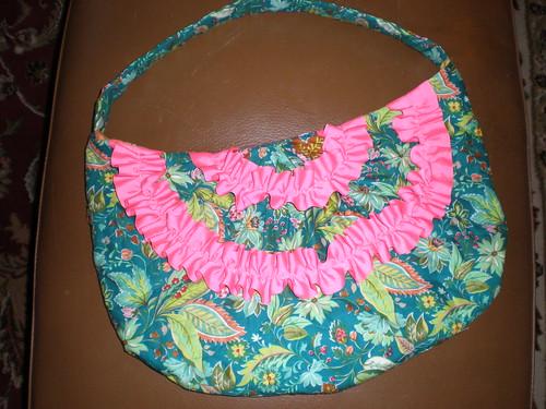 pink ruffle purse