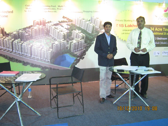 Stall of iParmar Group's River Residency  - 34 acre township of 1BHK - 2 BHK - 3 BHK Flats on Dehu Alandi road at Chikhali Pune 412 114 in Pimpri Chinchwad Municipal Corporation in CREDAI PCMC Property Exhibition at Sayaji Hotel Wakad