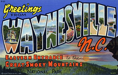 Greetings from Waynesville, North Carolina, Eastern Entrance to the Great Smokey Mountains National Park - Large Letter Postcard (Shook Photos) Tags: linen postcard northcarolina postcards greetings waynesville linenpostcard bigletter greatsmokeymountainsnationalpark largeletter largeletterpostcard waynesvillenorthcarolina linenpostcards largeletterpostcards bigletterpostcard bigletterpostcards