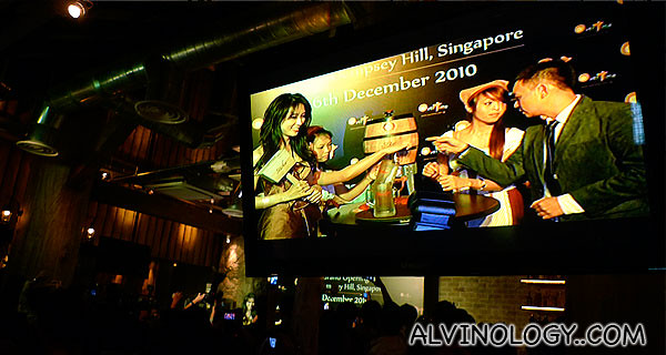 Lin Chi-ling with Alan Loh on the big screen