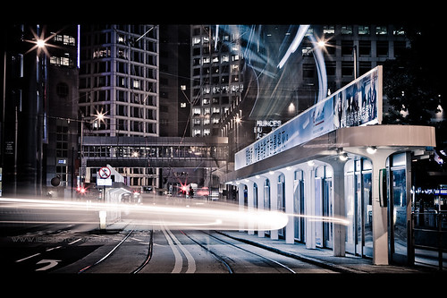 Hong Kong Tram Track Night Lights