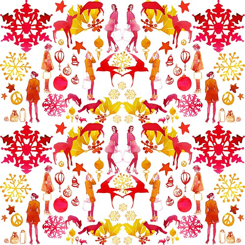 Illustration for Hong Kong department store holiday display pattern